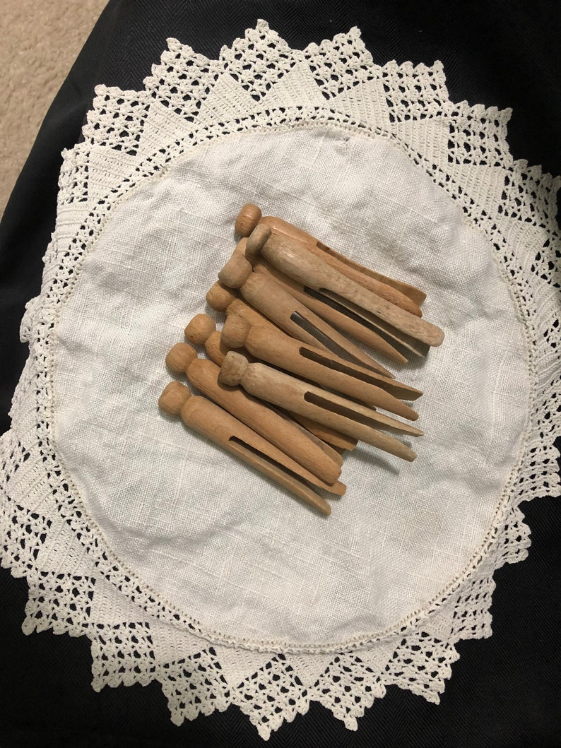 Old Vintage Wooden clothespins-Primitive-Rustic-Farm Set of 10