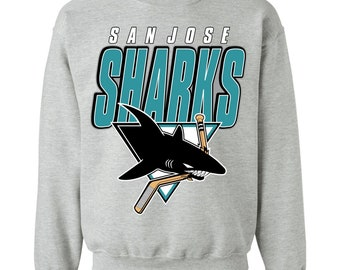 San Jose Sharks 90's Vintage Retro Mash-Up NHL Crewneck Sweatshirt Sweater
