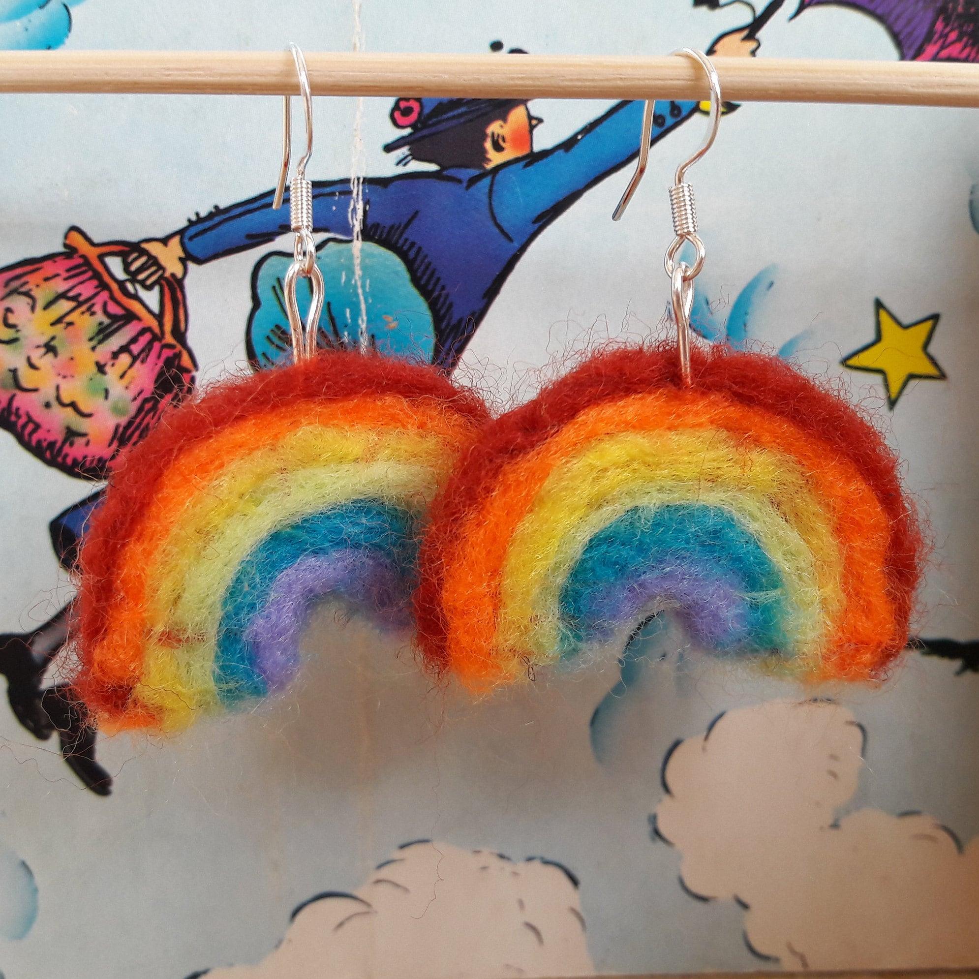 Rainbow Colours Felt Earring Collection