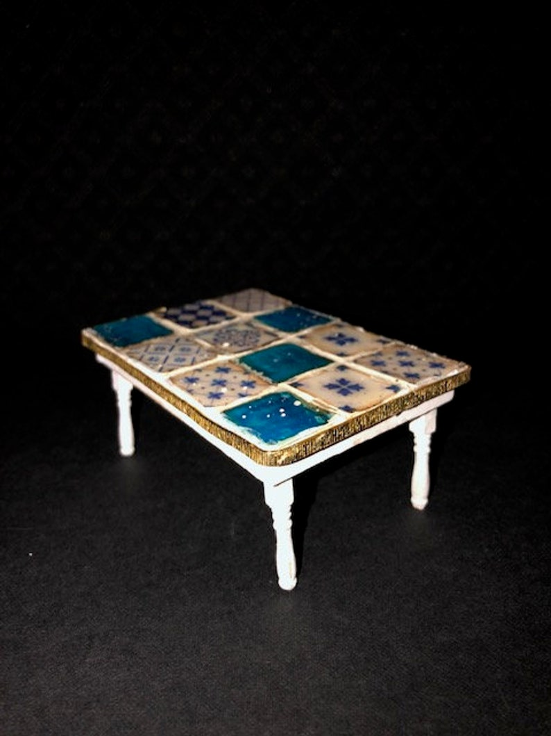 scale 1:12 Handmade Sofa table in white with mosaic top