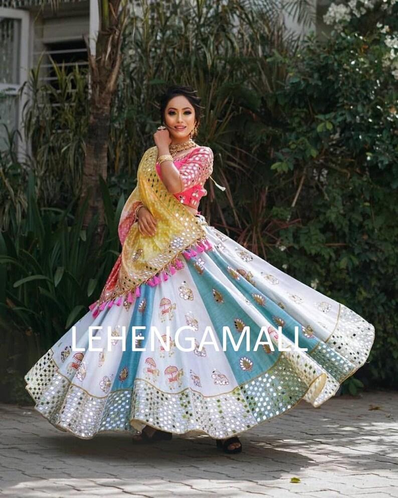 Authentic Wedding Garba Lehenga choli with Mirror Work  Wedding Lehenga  Lehengamall Lehenga choli