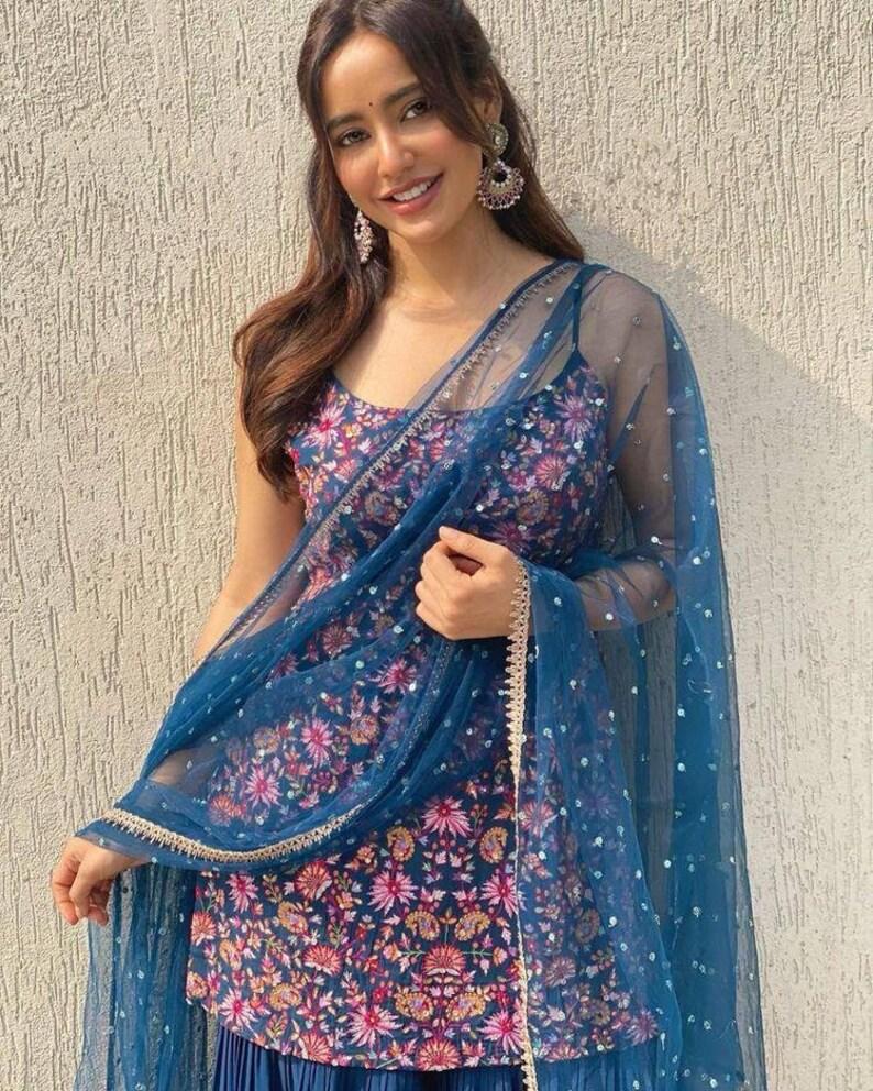 salwar kameez dress embroidered salwar suit with beautiful bottom palazzo pant women girl dress wedding gift