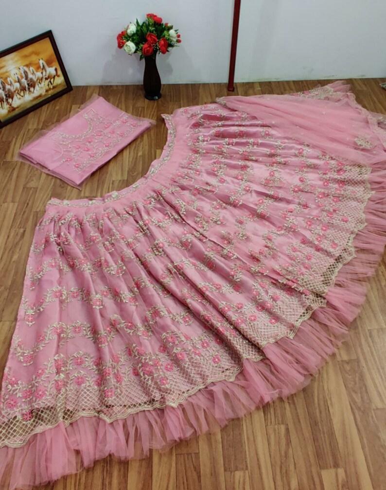 Net Embroidery Work Wedding Lehenga choli  Bridesmaids Lehenga  Lehengamall Lehenga choli