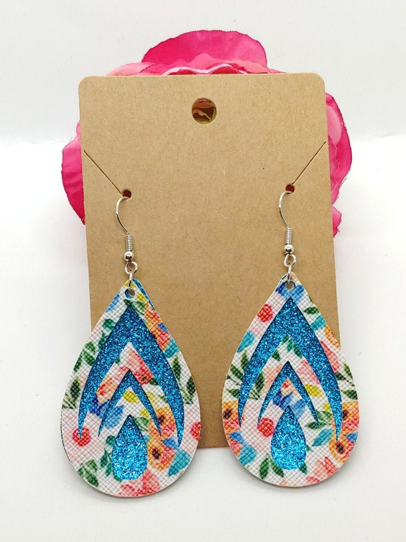 002 Pink blue and green floral faux leather design with bright blue glitter Tear Drop Earrings  Spring faux leather earrings