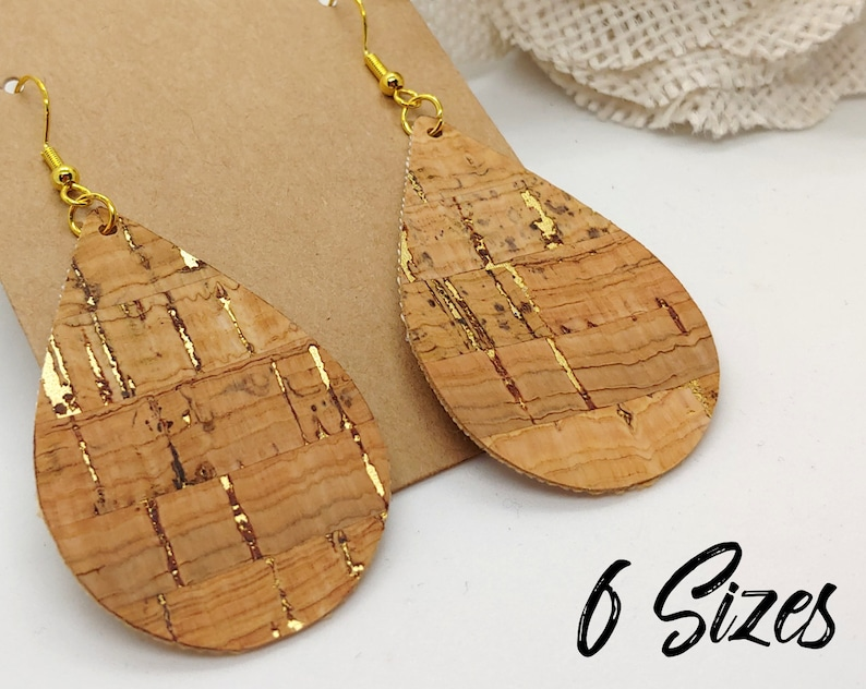Cork and Gold and black faux leather earrings 091