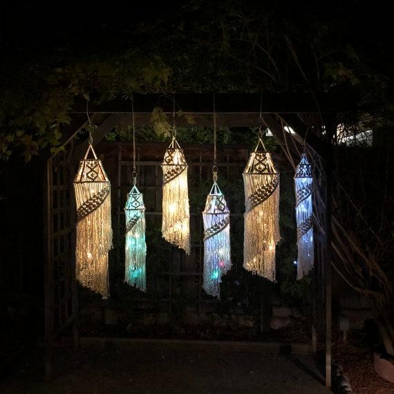 Medium Macrame Lantern Sparkle Stone Deep Space