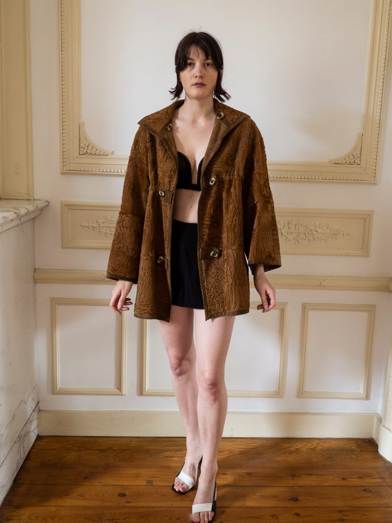1960s Astrakhan Fur and Suede Coat