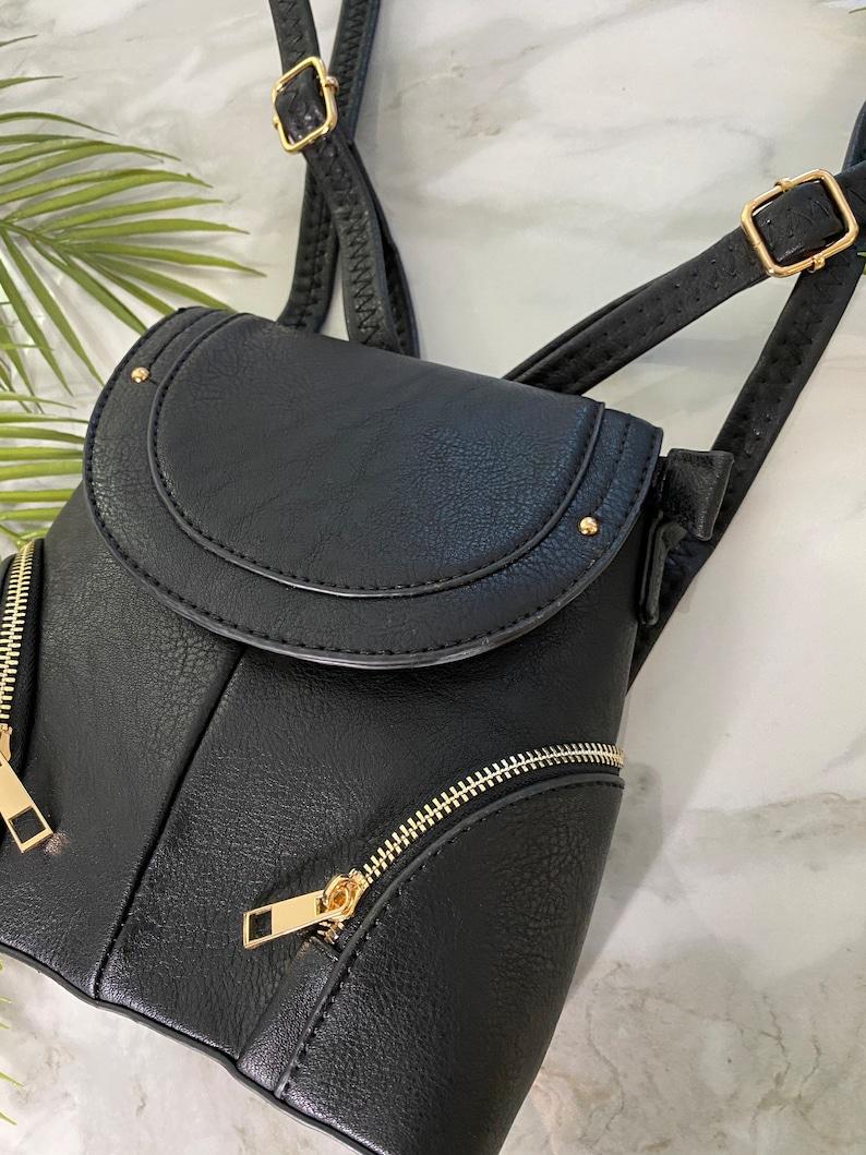 Womens Vegan BROWN Two Way Mini Backpack Shoulder Cross Body Bag vegan leather Personalised Monogram Initials in gold silver gift for her