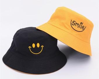 Letter Embroidery Double-Sided Wearing Sunbath Hat Unisex Reversible Bob Femme Panama Hat UV Protective Hat Fashion Cotton Beach Sun Hats