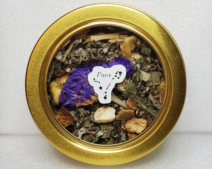 Featured listing image: Pisces Zodiac Tea 100% Organic Vegan Herbal Apothecary Fruit Blend (Caffeine-Free) February March Birthday