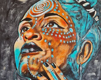 African Tribal Woman Painting   Original Modern Wall Giclee Art Print   Modern Woman Painting   Living Room Wall Decor