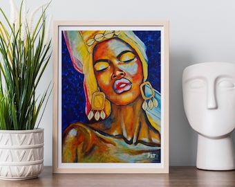 African Woman Painting with Cowrie shell earrings. Original Modern Wall Giclee Art Print   Modern Woman Painting   Living Room Wall Decor