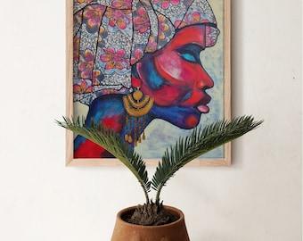 African Woman Painting   Red head Wrap   Original Modern Wall Art Giclée Print   Modern Woman Painting   Living Room Wall Décor for frame