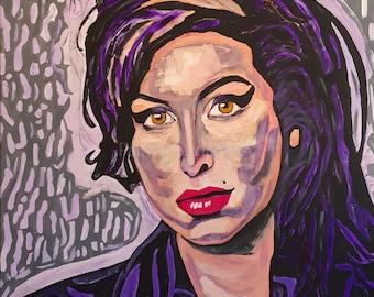 Amy Winehouse Acrylic Painting Original Modern Wall Art Giclee Print   DEEP PURPLE   Modern Woman Painting   Living Room Wall Decor