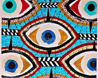 Eyes Acrylic Painting Original Modern Wall Art Print Giclee Art Print   Unseen Escape   Blue Eyes Painting   Modern Art Living Room Decor