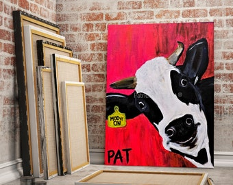 Funny Cow Painting   Original Wall Art on Stretched Canvas   Cow on Pink Canvas   Living Room Decor