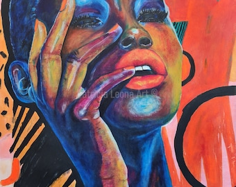 African Woman Painting   Red head Wrap  Original Wall Art on Stretched Canvas   Woman With Black Hair Painting   Modern Home Decor