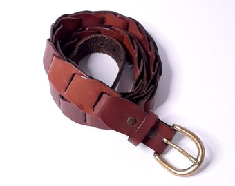 M L Fits 30 to 36 80s Brass and Woven Leather Snake Link Belt Woven Belt Wide Waist Belt