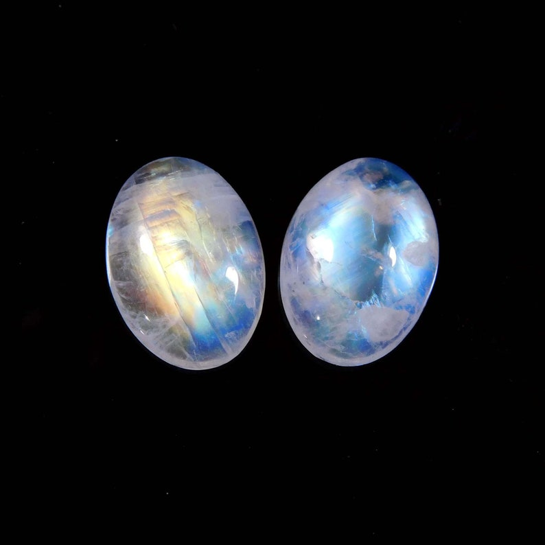 2 Pieces Lot 100/%  Natural rainbow Moon Stone Cabochon Oval Shape Calibrated Size For Hand Made Making Jewelry 9 Ct  10X14X4 MM Approx
