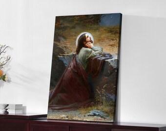 ARTCANVAS Christ On The Mount Of Olives Jesus At Night Blue Canvas Art Print 26x18