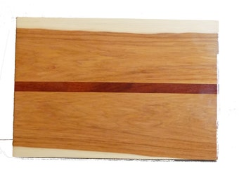 Unique cutting board / serving tray made with African mahogany and American hickory wood