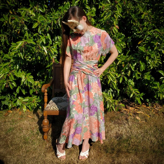 Maggy London 80's Floral Dress