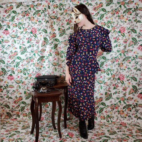 Vintage Totally 80's Floral ruffle dress