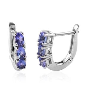 Premium Tanzanite Inside Out Hoop Earrings in Platinum Over Sterling Silver Tanzanite Earrings Tanzanite December Birthstone Earrings