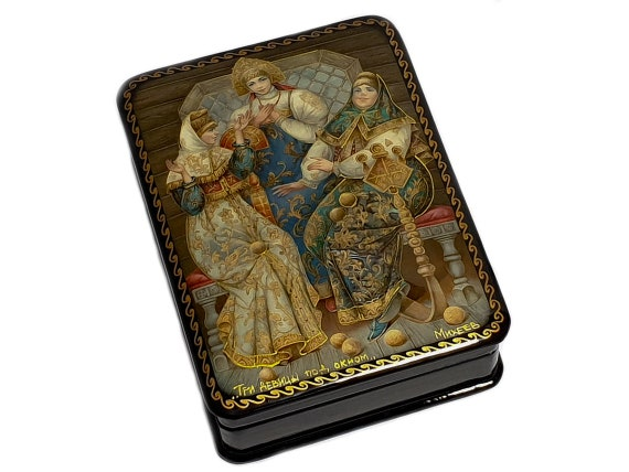 Basil/'s Cathedral Jewlery Box Room Decor Trinket Box Hand Painted in Russia Red Square Moscow.Kremlin Fedoskino Russian Lacquer Box St