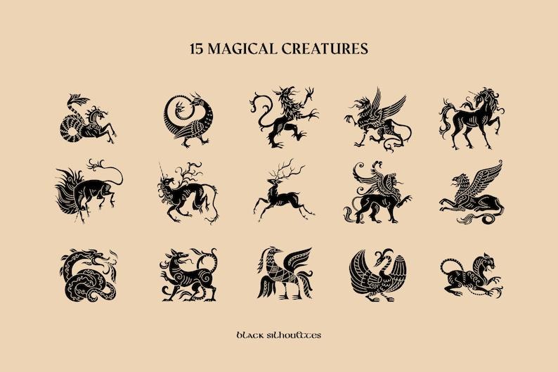 EPS Icon Set Raster Digital design elements Medieval tale Magic illustrations PNG TIFF Halloween Fantastic beasts 3 vector clipart