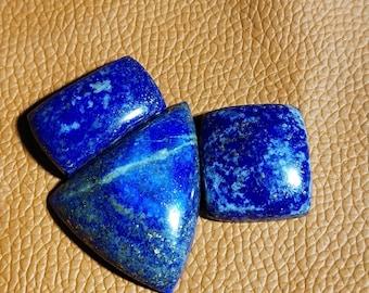 Natural Lapis Lazuli Afghanistan Mins Loose Cabochon  Gemstone  Shape Fancy 35x29 26x19 23x21mm 147.90 Carat Lapis Stone Jewelry 3 Pcs Lot