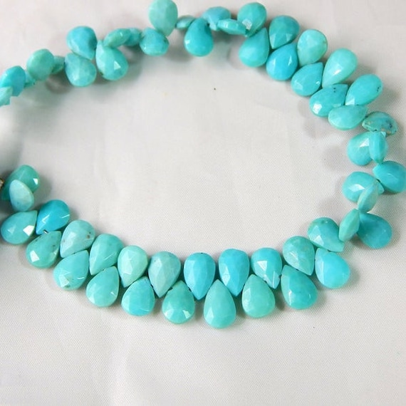 Sleeping Beauty Turquoise Faceted Pear Beads Natural Gemstone Briolette Beads For Jewelry Making
