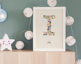 A-Z Personalised Letter Print - Children's Nursery Print