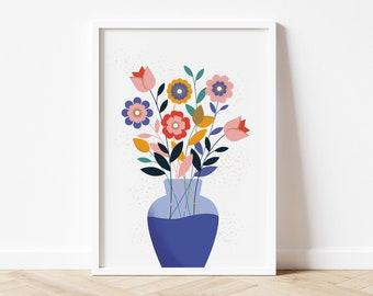Flowers in Vase - Colourful Art Print for the Home