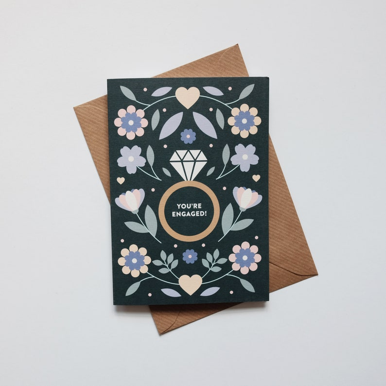 You're Engaged  Floral Engagement Card  Congratulations image 0
