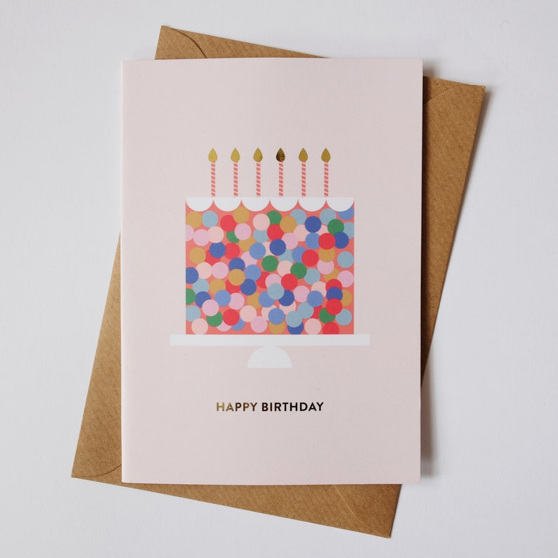 Birthday Cake Card  Birthday Card  A6 Gold Foil image 0