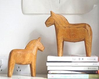 2 PCs Neutral Painting Dala Horse - Swedish Dala Horse Statue - Vintage Unfinished Wooden Horse Figurine Statue Horse