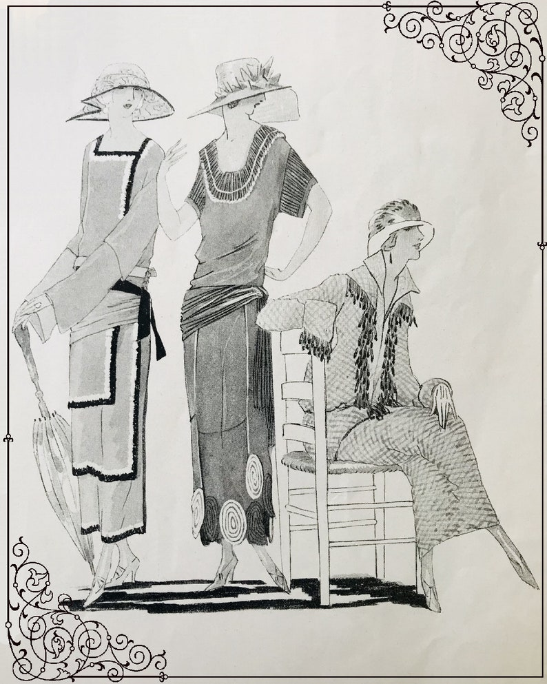Digital 1920s Fashion Sketches vintage Illustrations Junk journals Cards Tags Scrapbook