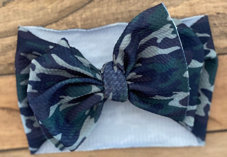 newborn bow headwrap camo bow headband camo bow for girls camo hair bows for girls Camo bow headwrap camo newborn bow headband