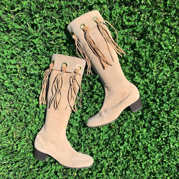 1960's GO GO BOOTS Suede and Fringe 6.5 - Near Min