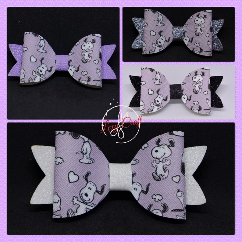 Faux Leather Hair Bow Snoopy Bow 3 14 Child Hair Bow Peanuts Bow