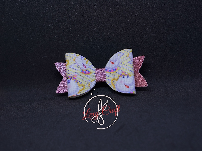 Beauty and the Beast Bow Mrs Potts Bow Print Faux Leather Hair Bow 3 14