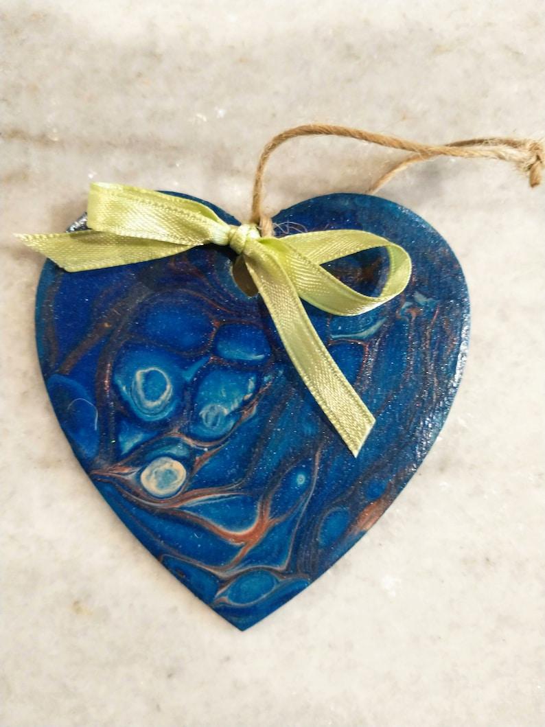 Wooden heart ornament,Valentine/'s day ornament,wooden heart cutout,Heart gift tag Wooden heart pendant,Acrylic pour ornament