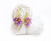 Purple Crocus Blossom Flower | Earrings | Dangly | Resin | Statement | Kanzashi