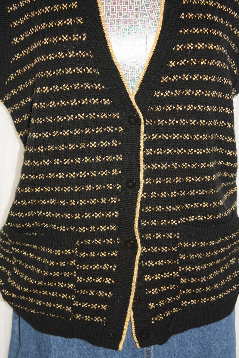 1980s Vintage Size LXL Sweater Vest Black and Gold Striped Button Up V-Neck Patch Pockets Ribbed Hem Oversized Boxy Fit