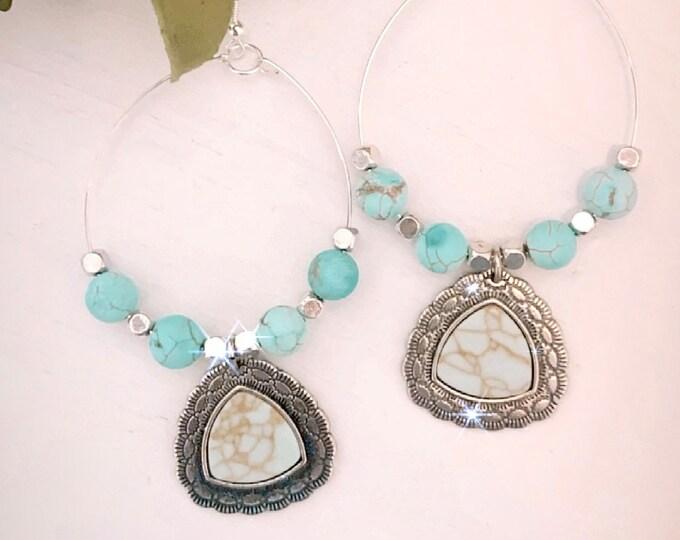 Handmade Western Turquoise Hoop Earrings