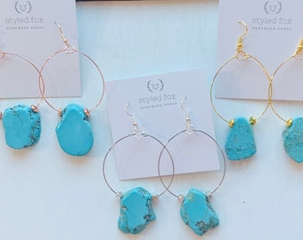 Small Hoop Large Turquoise Rock Earrings