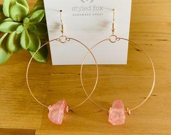 Rose Quartz on Hoop Earrings