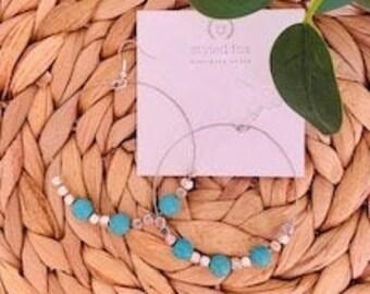 Handmade Teal/Silver Beaded Hoop Earrings