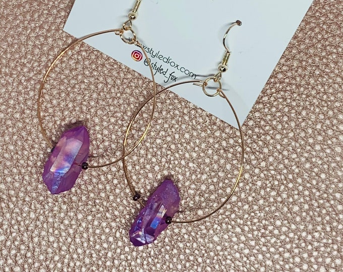 Purple Stones on Hoop Earrings
